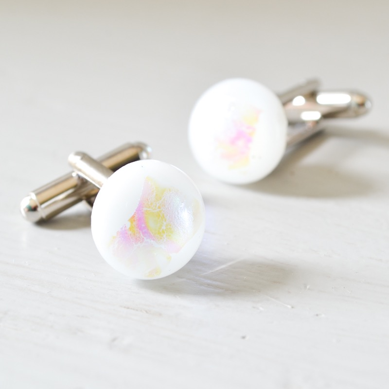 White and Pink Cufflinks